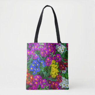 Colourful primroses all-over-print tote bag