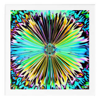 Colourful psychedelic sketch of a flower 2 acrylic wall art