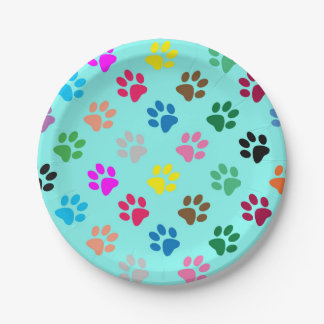 Colourful puppy paw prints paper plate