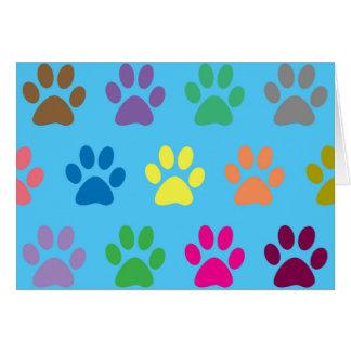 Colourful puppy paws print card