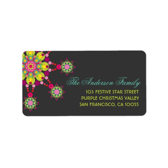 Colourful Purple Festive Flower Star Holiday Label