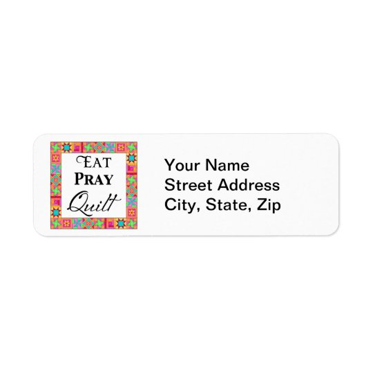 Colourful Quilt Blocks Border Art Eat Pray Quilt Return Address Label