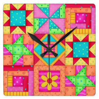 Colourful Quilt Patchwork Block Art Wall Clock