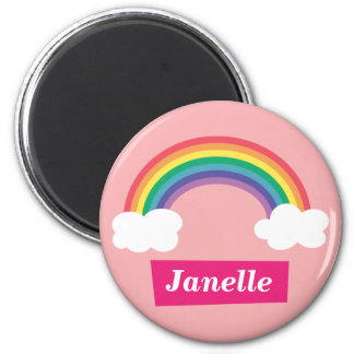 Colourful Rainbow and clouds, for Little Girls 6 Cm Round Magnet