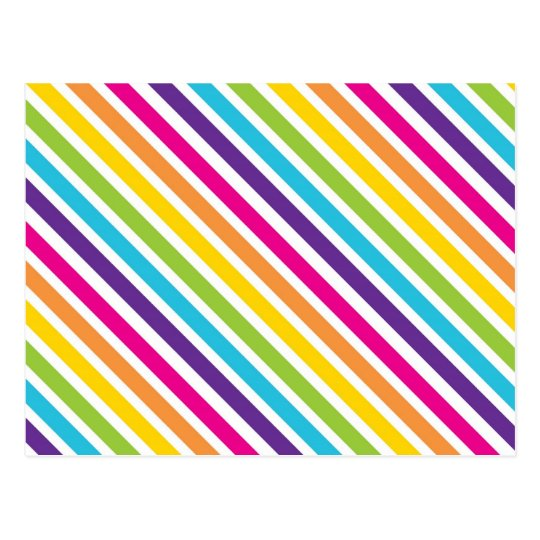 Colourful rainbow diagonal stripes gifts for teens postcard for Rainbow color stripe watch