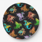 Colourful Rainbow Dragons School Paper Plate