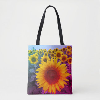 Colourful Rainbow Floral Yellow Sunflowers Harvest Tote Bag