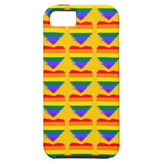 Colourful rainbow hearts on golden yellow case for the iPhone 5