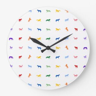 Colourful Rainbow Horses Clock