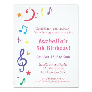 Colourful Rainbow Music Themed Birthday Party 11 Cm X 14 Cm Invitation Card