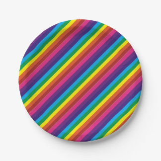 Colourful Rainbow Stripes Pattern Party Supplies 7 Inch Paper Plate