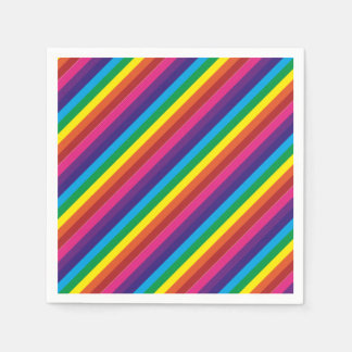 Colourful Rainbow Stripes Pattern Party Supplies Disposable Napkins