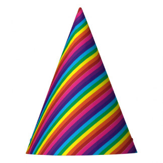 Colourful Rainbow Stripes Pattern Party Supplies Party Hat