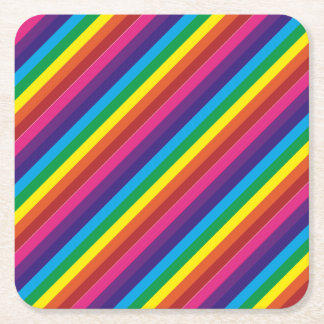 Colourful Rainbow Stripes Pattern Party Supplies Square Paper Coaster