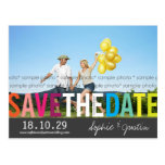 Colourful Rainbow Text Save The Date Photo Postcar