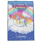 Colourful Rainbow Unicorn and Stars Medium Gift Bag