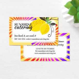 Colourful rays lemons chef catering business card