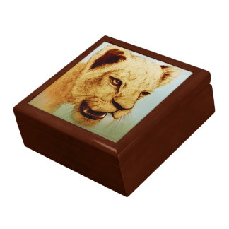 Colourful realistic sketch tile gift box - Lion