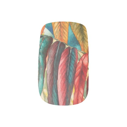 colourful red and gold autumn leaf art minx ® nail wraps