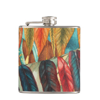 colourful red and gold autumn leaf art hip flask