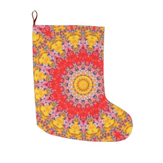 Colourful Red and Yellow Mandala Holiday Large Christmas Stocking
