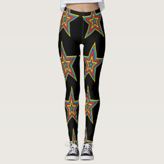 Colourful Red, Blue, Black Star Abstract Leggings
