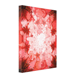 Colourful Red Kaleidoscope Abstract Fractal Canvas Print