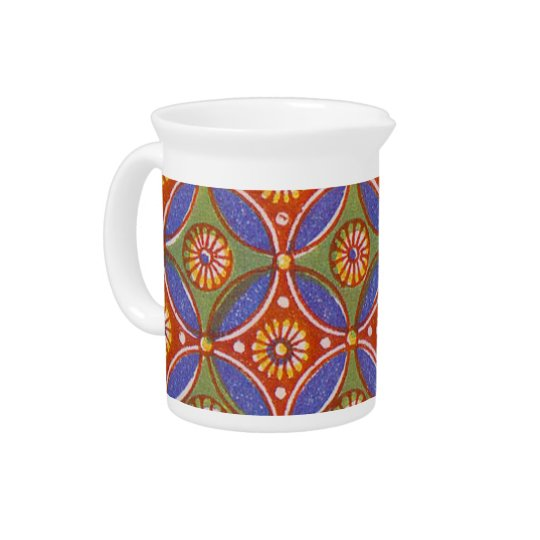 Colourful Red Rustic Circle Pattern Geometric Pitcher