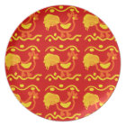 Colourful Red Yellow Orange Rooster Chicken Design Plate