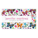 Colourful Retro Butterflies And Flowers Pattern Pack Of Standard Business Cards
