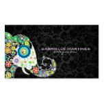 Colourful Retro Floral Elephant & Black Damasks Pack Of Standard Business Cards