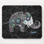 Colourful Retro Floral Elephant & Diamonds 2 Mouse Pad