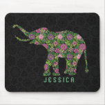 Colourful Retro Floral Elephant  Monogramed Mouse Pad