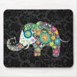 Colourful Retro Floral Elephant Mouse Pad