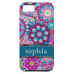 Colourful Retro Floral Pattern with Name iPhone 5 Case