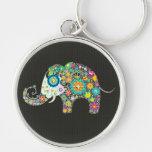 Colourful Retro Flower Elephant With Diamond Studs