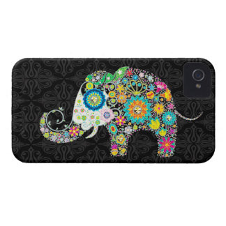 Colourful Retro Flowers Elephant Design iPhone 4 Covers