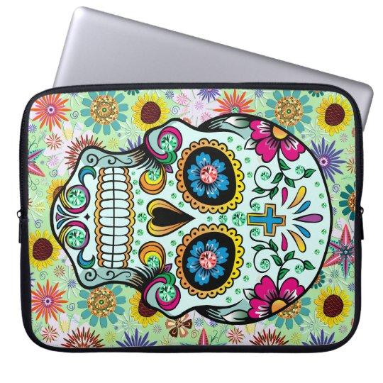 Colourful Retro Flowers Skull 2 Laptop Sleeve