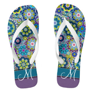 Colourful Retro Flowers with Monogram Thongs