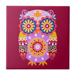Colourful Retro Owl Ceramic Tile