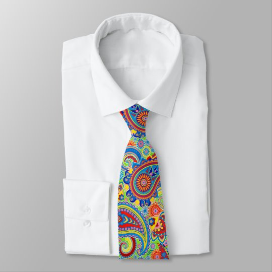 Colourful Retro Paisley Pattern Tie
