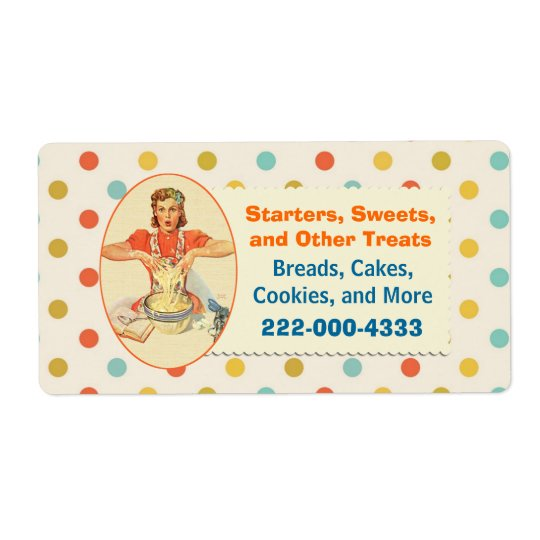 Colourful Retro Polka Dot Bakery Label Shipping Label