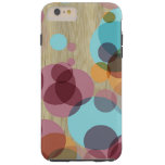 Colourful Retro Polka Dots Pattern Faux Wood Tough iPhone 6 Plus Case