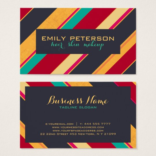 Colourful Retro Stripes Pattern Business Card