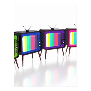 Colourful retro tv's postcard