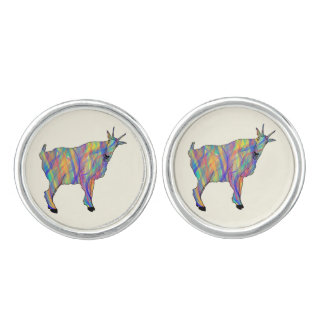 Colourful Ribbons Funny Goat Animal Art Design Cufflinks