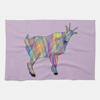 Colourful Ribbons Funny Goat Animal Art Design Tea Towel