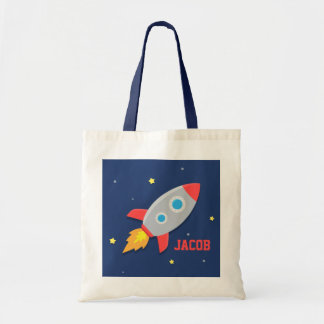 Colourful Rocket Ship, Outer Space, For Boys Canvas Bag