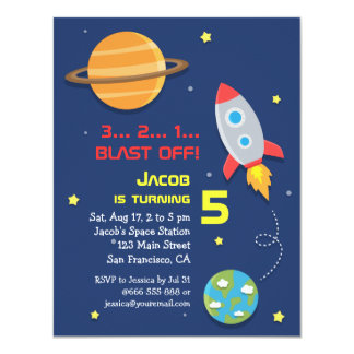 """Colourful, Rocket Ship, Space Party, Kids Birthday 4.25"""" X 5.5"""" Invitation Card"""