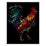 colourful rooster poster